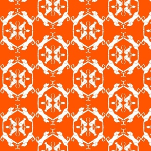 Cat & Dog Damask in Orange