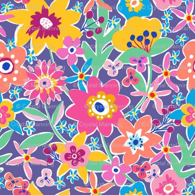 Garden party fabric c manning spoonflower for Garden party fabric by blackbird designs