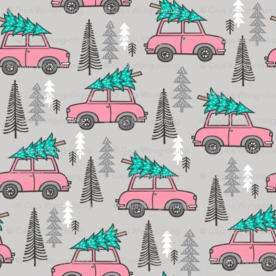 Holiday Christmas Tree Pink Car Woodland Fall on Grey