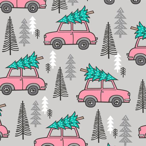 Holiday Christmas Tree Pink Car Woodland Fall on Grey fabric by caja_design on Spoonflower - custom fabric