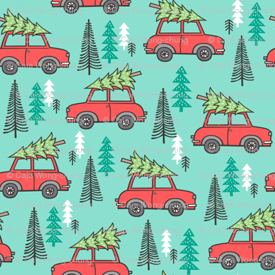 Holiday Christmas Tree Red Car Woodland Fall on Mint Green