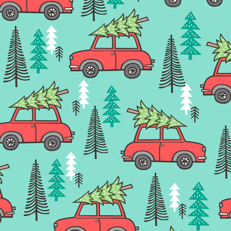 Holiday Christmas Tree Red Car Woodland Fall on Mint Green fabric by caja_design on Spoonflower - custom fabric