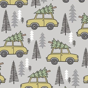 Holiday Christmas Tree  Car Woodland Fall on Grey