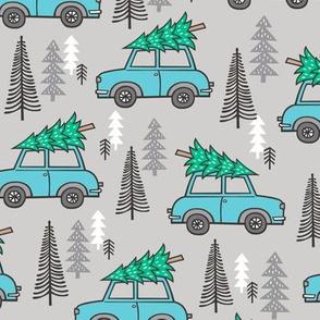 Holiday Christmas Tree Blue Car Woodland Fall on Grey