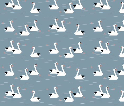 Swans - dusty blue black and white origami geometric birds || by sunny afternoon fabric by sunny_afternoon on Spoonflower - custom fabric
