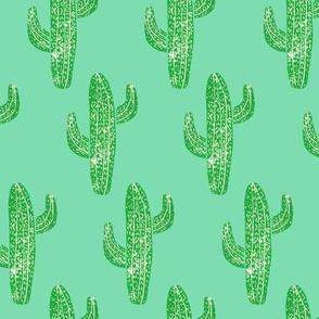 Linocut Cacti Pattern Green