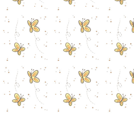 Butterflies_white fabric by valentina_rota_(joycute_art) on Spoonflower - custom fabric