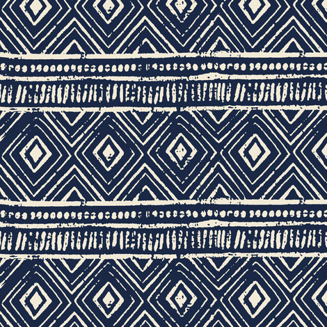 Mud Cloth // Navy & Eggshell // Extra Small fabric by thinlinetextiles on Spoonflower - custom fabric