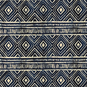 Tribal Mudcloth in Deep Navy and Eggshell