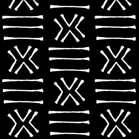 Malian Mudcloth on Black // Small fabric by thinlinetextiles on Spoonflower - custom fabric