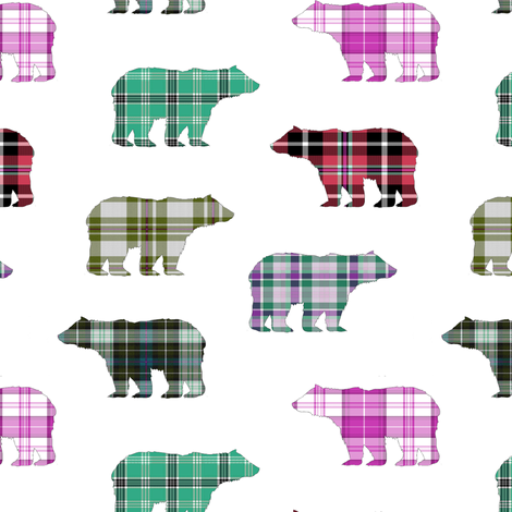 Plaid Bears II  // Sylvan Shoppe Collection fabric by thinlinetextiles on Spoonflower - custom fabric
