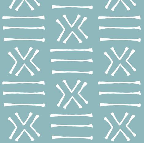 Malian Mud Cloth on Sky Blue // Small fabric by thinlinetextiles on Spoonflower - custom fabric