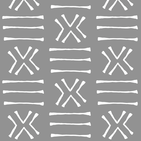 Malian Mud Cloth on Slate Grey // Small fabric by thinlinetextiles on Spoonflower - custom fabric