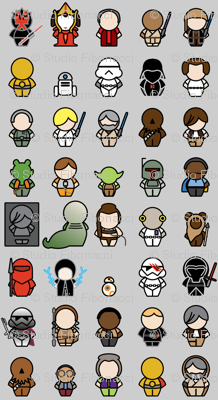 A Galaxy Far Far Away - 1in chibi (gray)