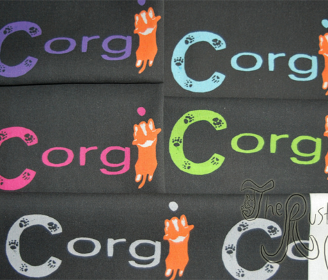 Cardigan Welsh Corgi sploot name block - purple