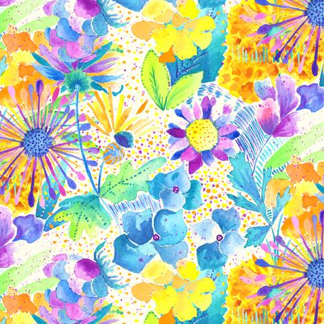 Vibrant Floral I fabric by carolinacotoart on Spoonflower - custom fabric