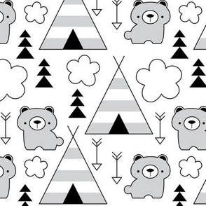 teepees and-bears-in-black-and-white