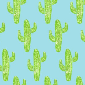 Linocut Cacti Pattern Blue