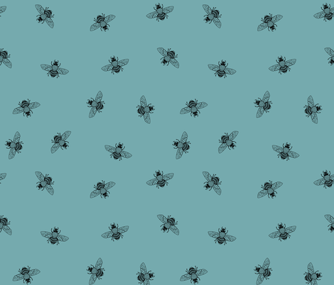 Bee_Black_on_DustyDuckEggBlue_Ditsy fabric by thistleandfox on Spoonflower - custom fabric