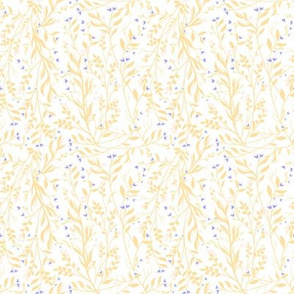 Tangled Vines Floral Yellow and Royal Blue