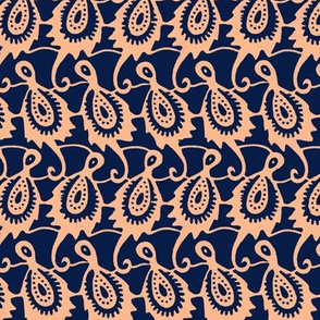 african kingfisher paisley navy  and coral