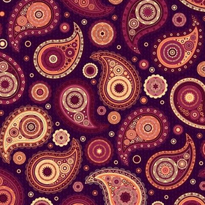Poppin' Paisley - Mulberry Peach