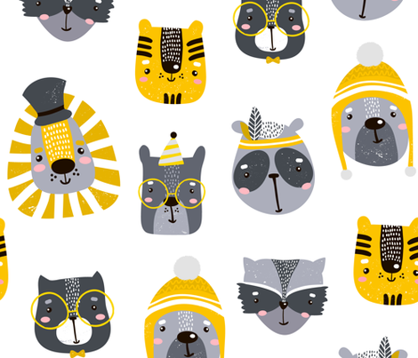 Funny Faces fabric by floramoon on Spoonflower - custom fabric