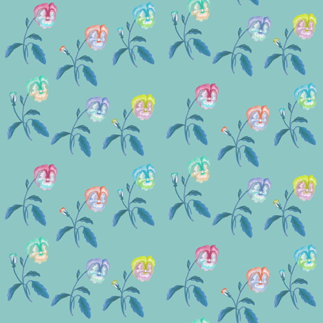 Pansy_Meadow_RobinsEgg fabric by thistleandfox on Spoonflower - custom fabric