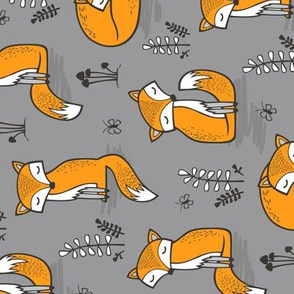Dreamy Fox on Grey Rotated