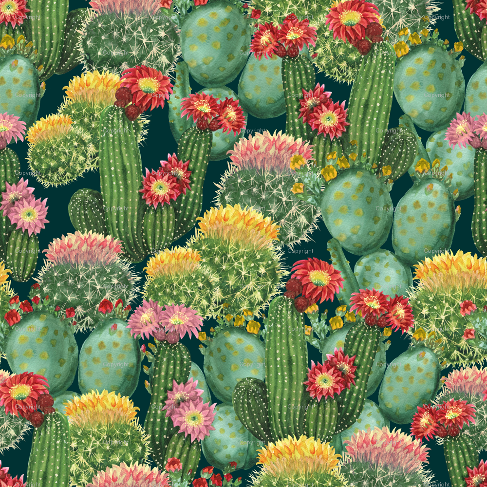 Tropical Cactus Flowers Fabric Svetlanaprikhnenko Spoonflower