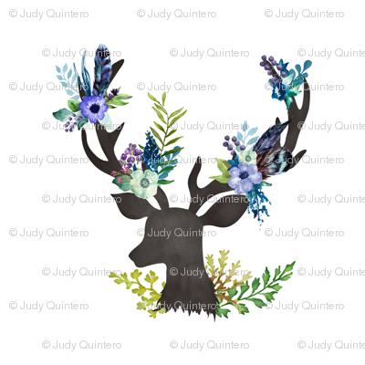 """Deer in Blue - 4"""" fabric"""