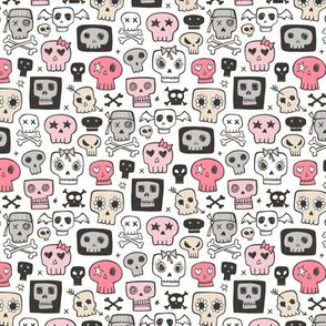 Skulls In Pink 1 inch small tiny