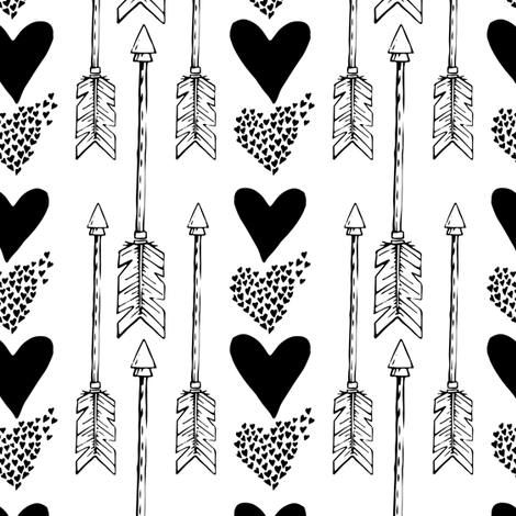 Hearts & Arrows - Black & White fabric by shopcabin on Spoonflower - custom fabric