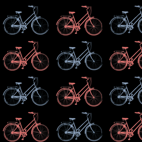 Red & Blue Antique Bikes // Black fabric by thinlinetextiles on Spoonflower - custom fabric
