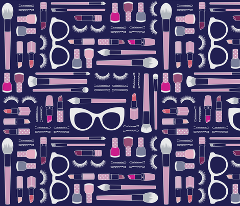 Beauty Haul | Navy fabric by elizabethattwood on Spoonflower - custom fabric