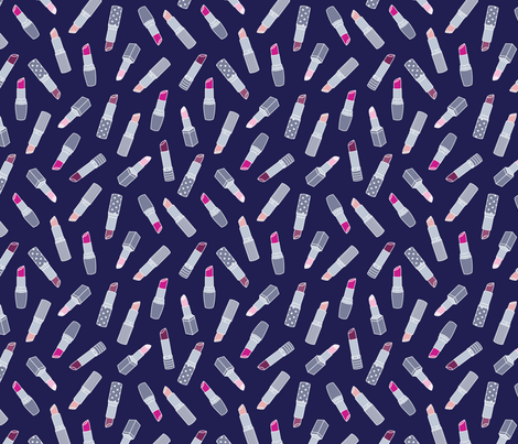 Lipsticks | Navy fabric by elizabethattwood on Spoonflower - custom fabric