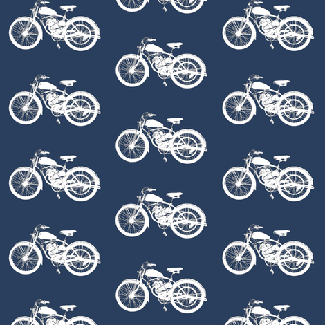 Vintage Motorbikes // Navy fabric by thinlinetextiles on Spoonflower - custom fabric