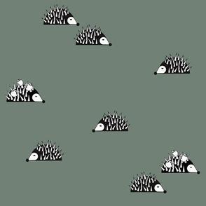 Hedgehogs - woodland animals dark green