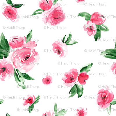 Watercolor Floral Pink Medium