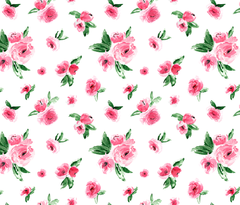 Watercolor Floral Pink Medium fabric by northeighty on Spoonflower - custom fabric