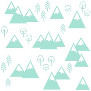 PNW - Mountains & Trees Mint on White