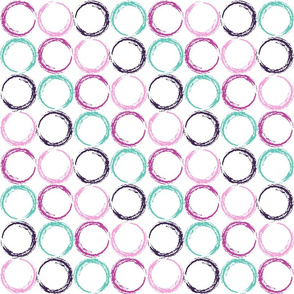 Circles with stripe pattern in Violet