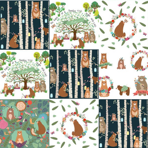 Forest Family Frolic - Large cheater quilt