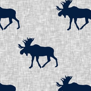 navy moose on light grey linen (large scale)