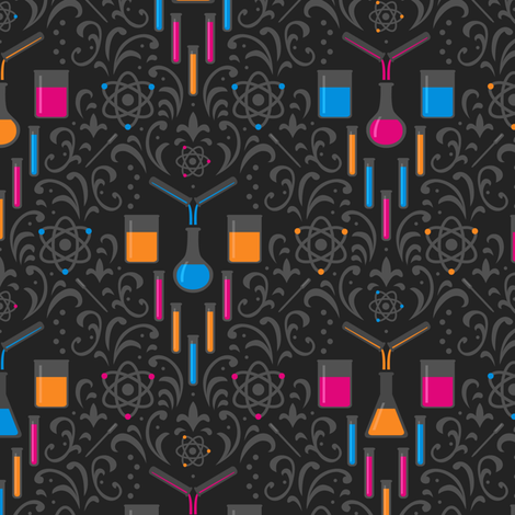 Mad Science Damask (Neon) fabric by robyriker on Spoonflower - custom fabric