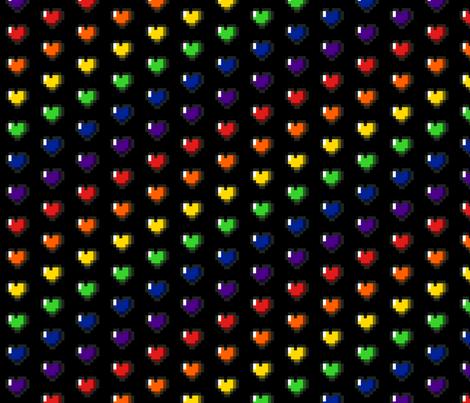 Rainbow 8-Bit Pixel Hearts On Black - 2 fabric by craft_geek_or_die on Spoonflower - custom fabric