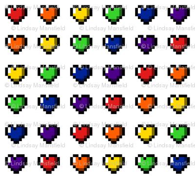 Rainbow 8-Bit Pixel Hearts On White - 1