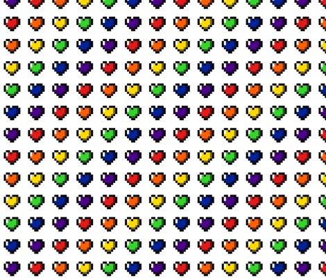 Rainbow 8-Bit Pixel Hearts On White - 1 fabric by craft_geek_or_die on Spoonflower - custom fabric