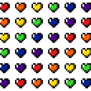 Rainbow 8-Bit Pixel Hearts On White - 1