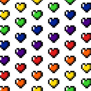 Rainbow 8-Bit Pixel Hearts On White - 2